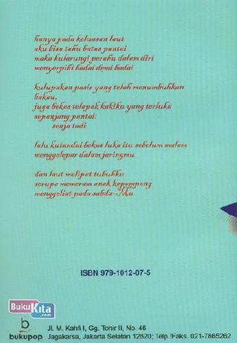 Cover Belakang Buku Perahu di Atas Sajadah (Puisi Islami)