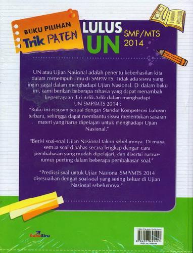 Cover Belakang Buku Buku Pilihan Trik Paten Lulus UN SMP/MTS 2014