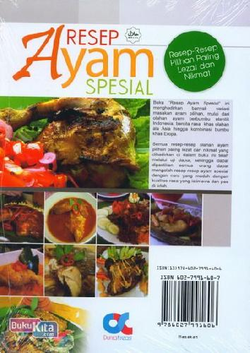 Cover Belakang Buku Resep Ayam Spesial