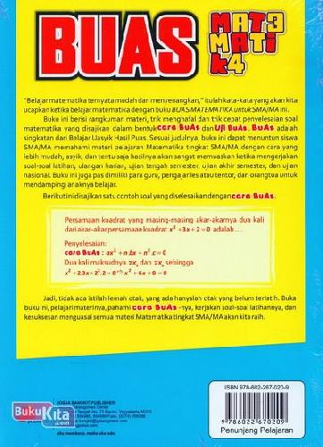 Cover Belakang Buku Buas Matematika Untuk SMA/MA