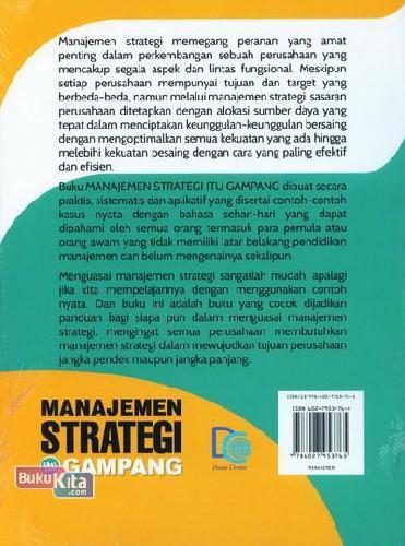 Cover Belakang Buku Manajemen Strategi itu Gampang untuk Pemula dan Orang Awam