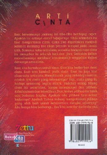 Cover Belakang Buku Arti Cinta
