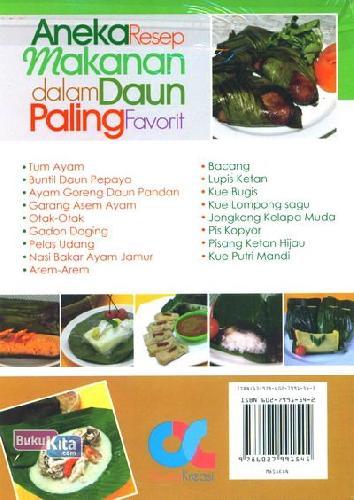 Cover Belakang Buku Aneka Resep Makanan dalam Daun Paling Favorit (Full Color)