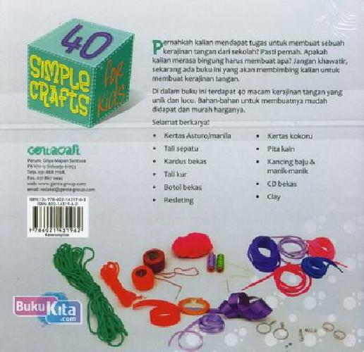 Cover Belakang Buku Seri Ke-2: 40 Simple Crafts For Kids