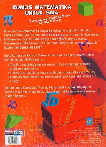 Cover Belakang Buku Rumus Matematika Untuk SMA Yang Paling Lengkap dan Sering Keluar!