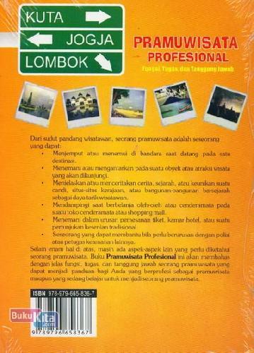 Cover Belakang Buku Pramuwisata Profesional (Fungsi, Tugas dan Tanggung Jawab)