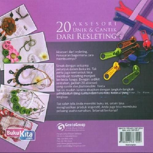 Cover Belakang Buku Absolute Zipper Creations (20 Aksesoris Unik & Cantik Dari Resleting)