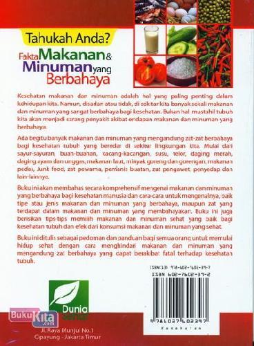 Cover Belakang Buku Tahukah Anda? Fakta Makanan & Minuman yang Berbahaya (Full Color)