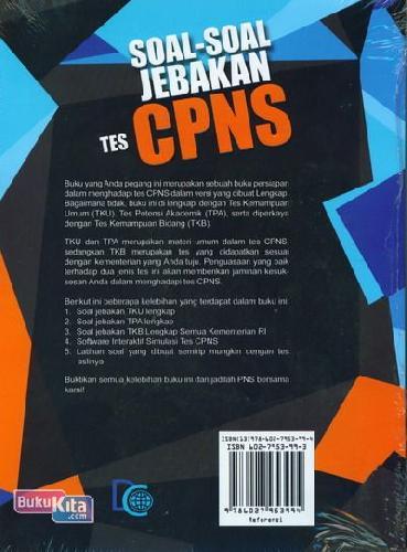Cover Belakang Buku Soal-Soal Jebakan Tes CPNS di Semua Kementerian RI