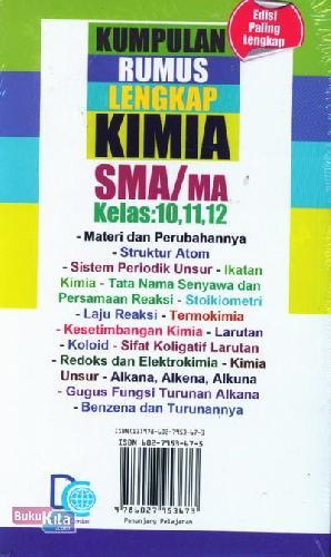 Cover Belakang Buku Kumpulan Rumus Lengkap Kimia SMA/MA Kelas 10,11,12
