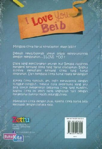Cover Belakang Buku I Love You Beib