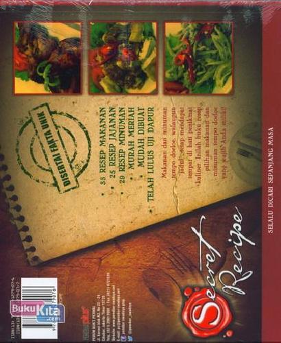Cover Belakang Buku Secret Recipe Hidangan Favorit Tempo Doeloe