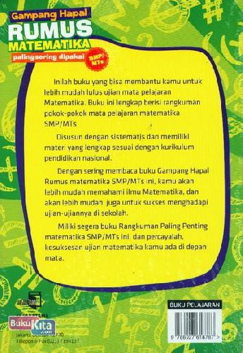 Cover Belakang Buku Gampang Hapal Rumus Matematika Paling Sering dipakai SMP/MTs