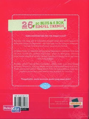 Cover Belakang Buku 26 Model Seri Menjahit 20 Blus & 6 Rok Simpel Trendi