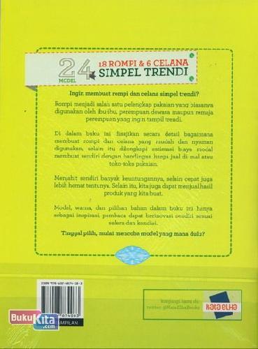 Cover Belakang Buku 24 Model Seri Menjahit 18 Rompi & 6 Celana Simpel Trendi