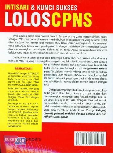 Cover Belakang Buku Intisari & Kunci Sukses Lolos CPNS