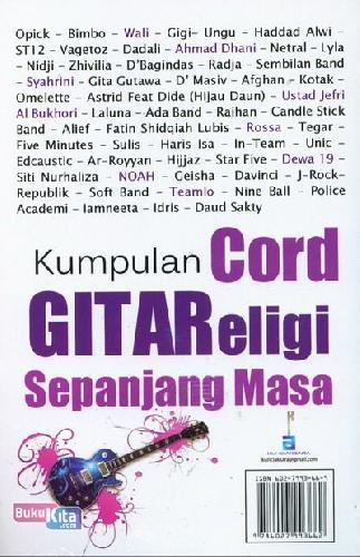 Cover Belakang Buku Kumpulan Cord Gitar Religi Sepanjang Masa