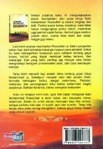 Cover Belakang Buku Kepribadian Dan Gaya Hidup Muhammad