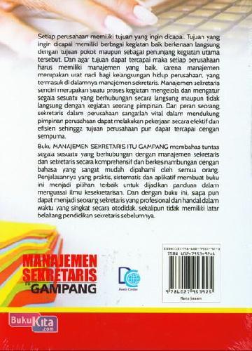 Cover Belakang Buku Manajemen Sekretaris Itu Gampang Secara Otodidak