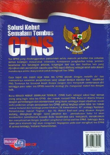Cover Belakang Buku Solusi Kebut Semalam Tembus CPNS Untuk Semua Instansi Pemerintahan
