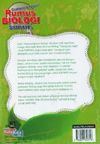 Cover Belakang Buku Gampang Ingat Rumus Biologi SMP/MTs Kelas 7,8,9