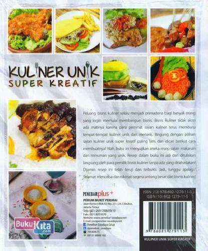 Cover Belakang Buku Kuliner Unik Super Kreatif
