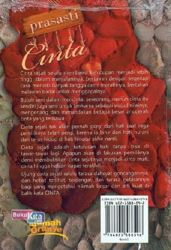 Cover Belakang Buku Prasasti Cinta