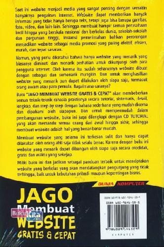 Cover Belakang Buku Jago Membuat Website Gratis & Cepat Secara Otodidak - Edisi Terbaru