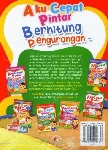 Cover Belakang Buku Aku Cepat Pintar Berhitung Pengurangan untuk PRA TK & TK (Full Color)