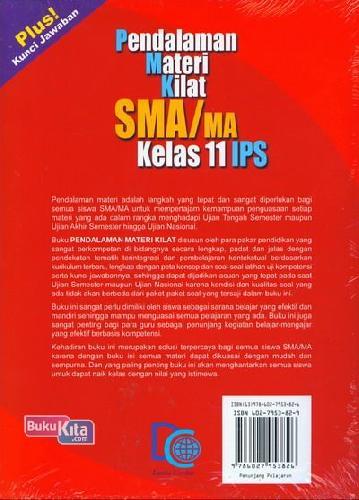 Cover Belakang Buku Pendalaman Materi Kilat SMA/MA Kelas 11 I