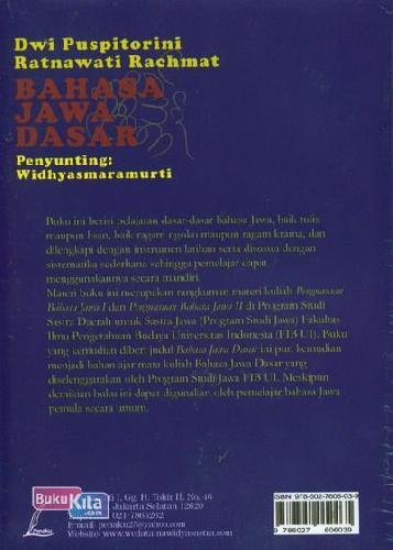 Cover Belakang Buku Bahasa Jawa Dasar