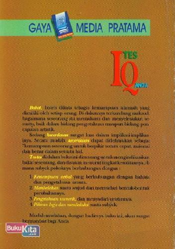 Cover Belakang Buku Tes IQ Anda 1