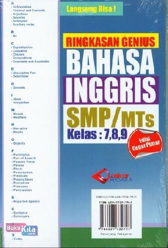 Cover Belakang Buku Ringkasan Genius Bahasa Inggris SMP/MTs Kelas 7,8,9