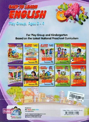 Cover Belakang Buku Easy To Learn English Play Group, Ages 3-4