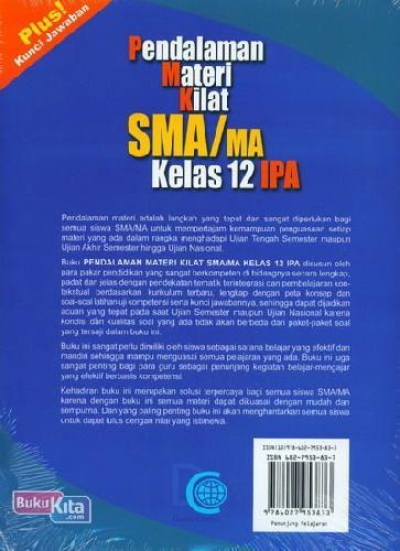 Cover Belakang Buku Pendalaman Materi Kilat SMA/MA Kelas 12 IPA