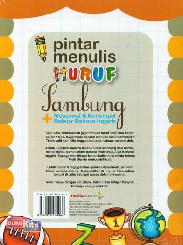 Cover Belakang Buku Pintar Menulis Huruf Sambung Usia 3-5 tahun (Full Color)