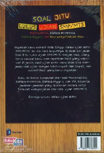 Cover Belakang Buku Soal Jitu Lulus Ujian SMP/MTS - Matematika, Bahasa Indonesia, Bahasa Inggris dan Ilmu Pengetahuan Alam