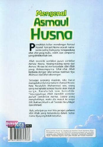 Cover Belakang Buku Mengenal Asmaul Husna