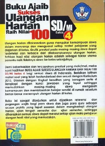 Cover Belakang Buku SD/Mi Kl 4 Buku Ajaib Sukses Ulangan Harian Raih Nilai 100 Kur 2013