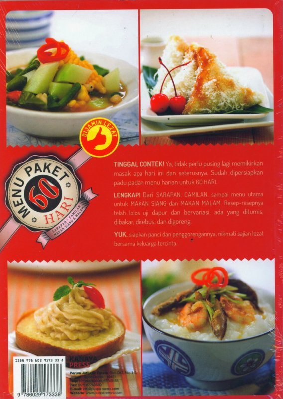 Cover Belakang Buku Menu Paket 60 Hari Sarapan Camilan Makan Siang & Malam