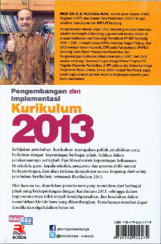Cover Belakang Buku Pengembangan dan Implementasi Kurikulum 2013