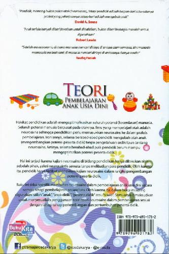 Cover Belakang Buku Teori Pembelajaran Anak usia Dini Dalam Kajian Neurosains