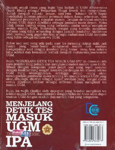 Cover Belakang Buku Menjelang Detik Tes Masuk Ugm Ipa