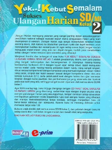 Cover Belakang Buku SD/Mi Kl 2 Yuk Kebut Semalam Sukses Ulangan Harian+Cd