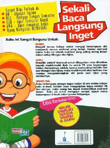 Cover Belakang Buku SD Kl 4 Sekali Baca Langsung Inget Ulangan Harian&Semesteran