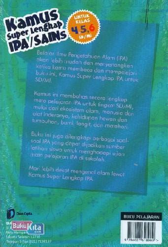 Cover Belakang Buku SD/Mi Kl 4-6 Kamus Super Lengkap Ipa