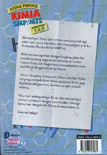 Cover Belakang Buku Kitab Pintar Kimia SMP/MTs Untuk Kelas 7,8,9