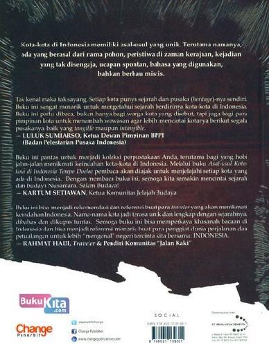 Cover Belakang Buku Asal-Usul Kota-Kota Di Indonesia Tempo Doeloe