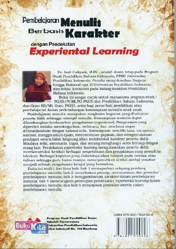 Cover Belakang Buku Pembelajaran Menulis Berbasis Karakter dengan Pendekatan Experiental Learning