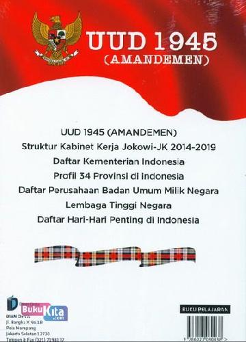 Cover Belakang Buku UUD 1945 ( Amandemen ) Struktur Kabinet Jokowi